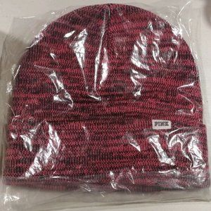 VS PINK knit Beanie Hat black pink marl NEW!